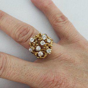 Vintage Gold Rhinestone Ring Size 7